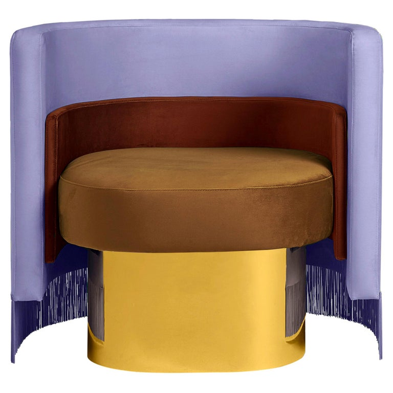 Mambo Violet Armchair with Upholstery Velvet, Solid Wood and Metal Structure For Sale