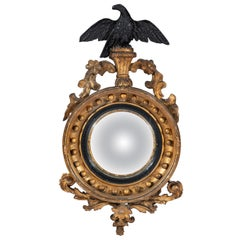 Small Early 19th Century Carved Gesso and Giltwood Federal Convex Mirror