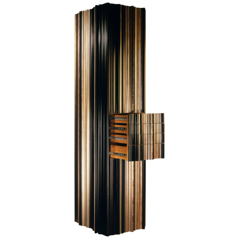 Contemporary Dark and Silver Wood Moldings Armoire by Luis Pons For Sale