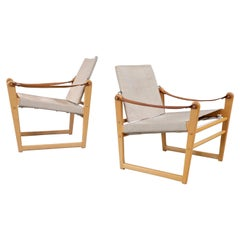 "Pair of Swedish ""Cikada"" Safari Chairs by Bengt Ruda, 1960s"