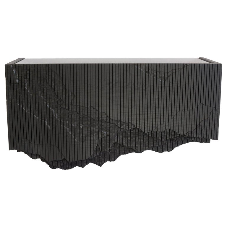 Ledge Console in Black, Floating, by Simon Johns For Sale