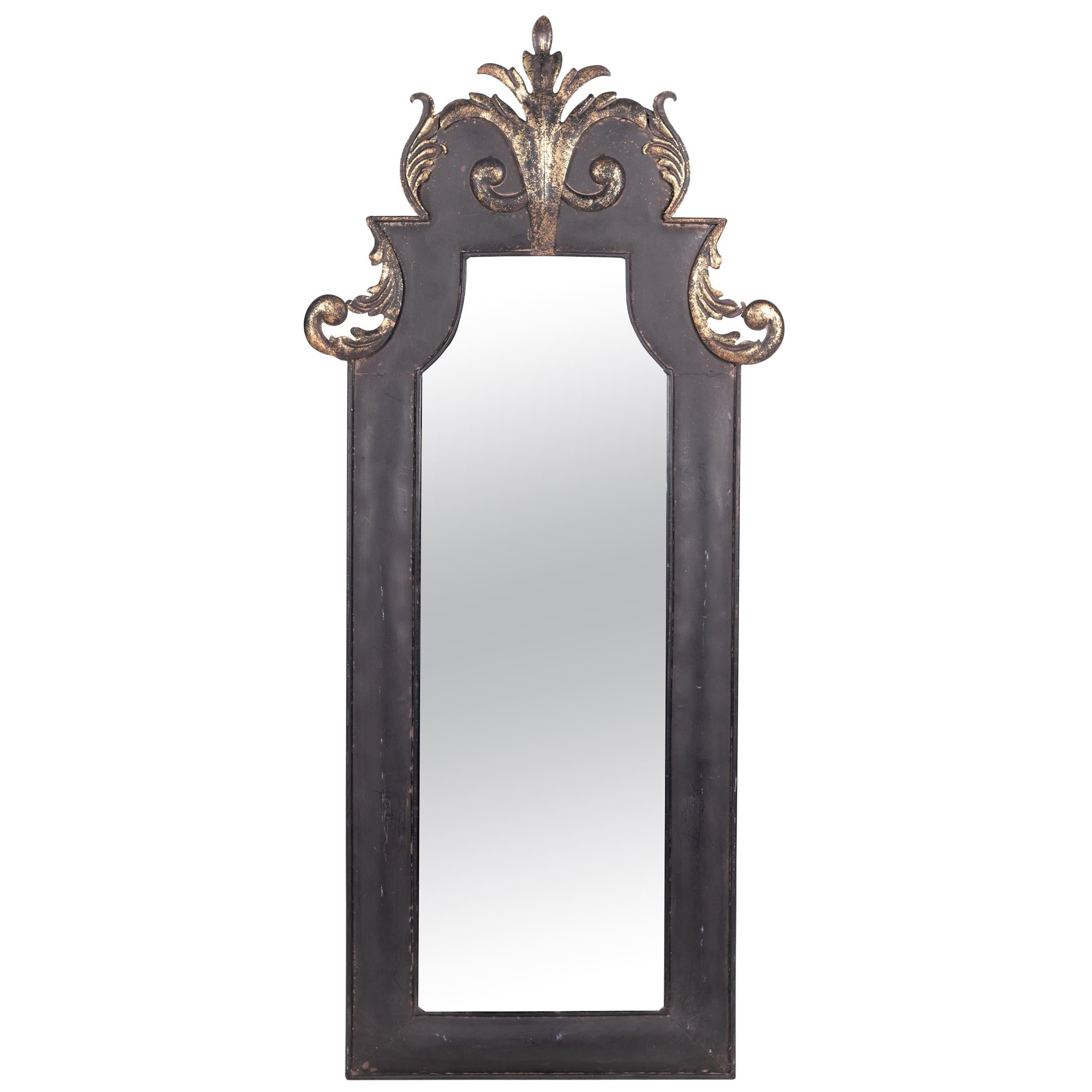 1980s French Wall Metallic Painted Mirror