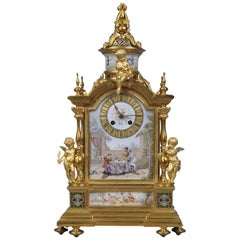 Louis XVI Style Champlevé Enamel and Gilt-Bronze Mantel Clock, circa 1880