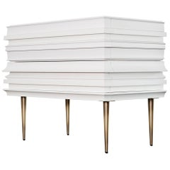 Contemporary Lacquer White Wood Moldings on a Pair of Nightstands by Luis Pons