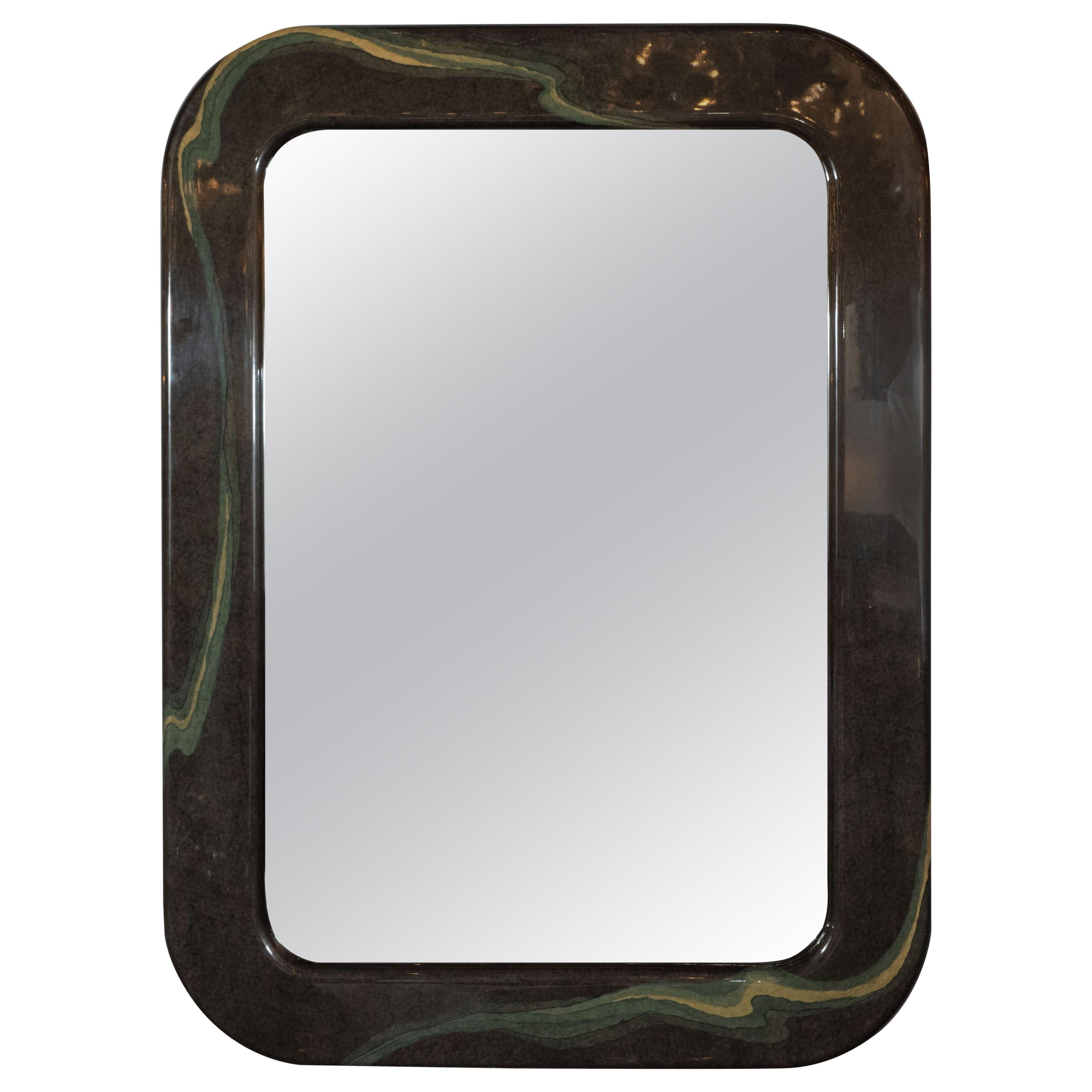 Mid-Century Modern Olive Gray Resin Wall Mirror with Amorphic Swirl Detailing
