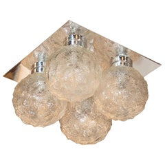 Mid-Century Modern Organic Textured Spherical Globe Flush Mount with Chrome Base