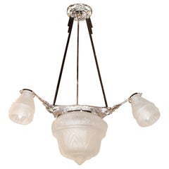 Art Deco Cubist Four-Globe Frosted Relief Glass Chandelier in Silvered Bronze