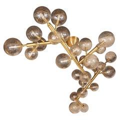 Modernist Brass Snowflake Chandelier with 24-Karat Gold Hand Blown Murano Globes
