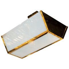 French Art Deco Semi-Flush Mount Brass & Frosted Glass Chandelier by Jean Perzel