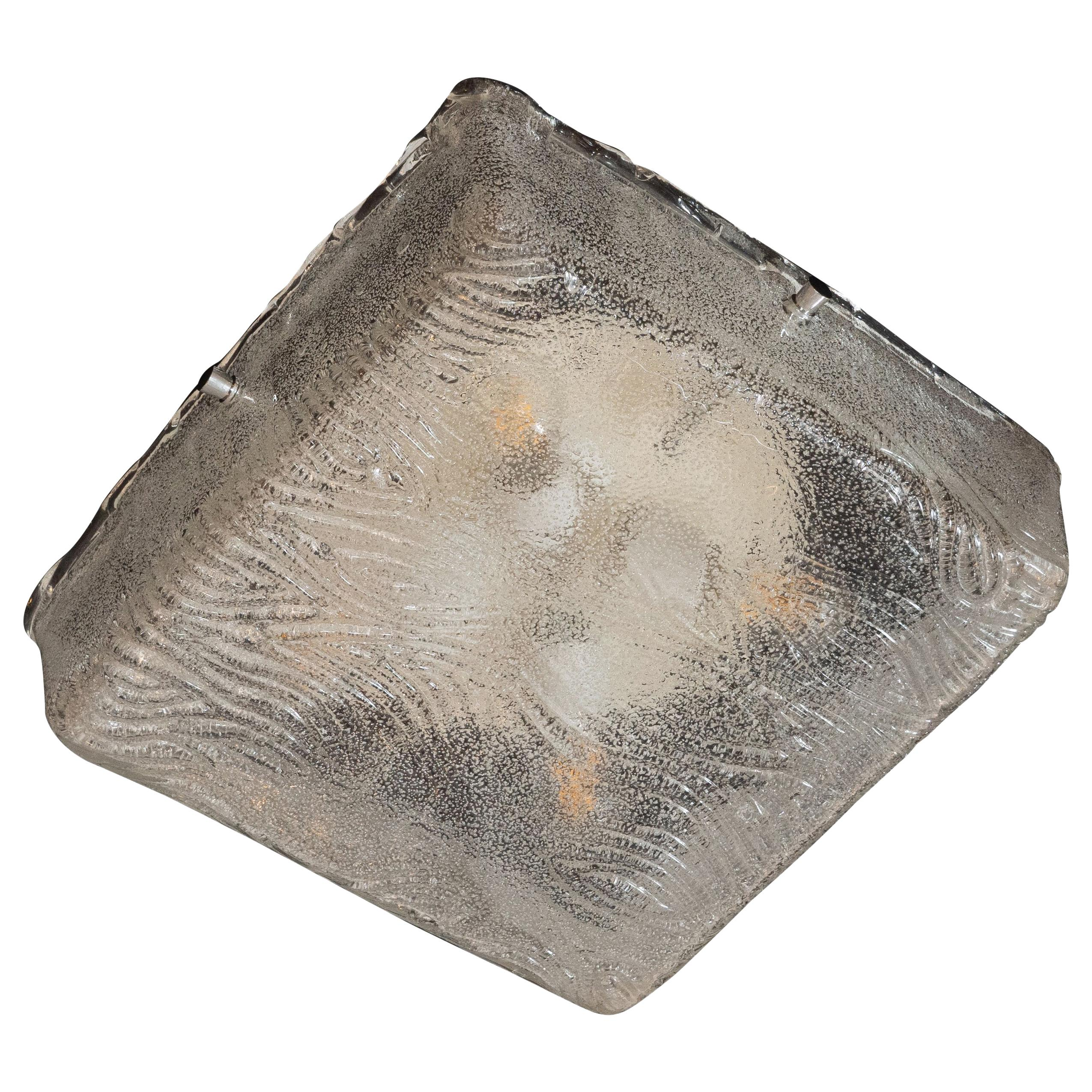 Mid-Century Modern Square Flush Mount in Textured Glass with Chrome Fittings