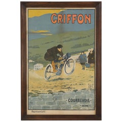 Antique Griffon Motorcycle Racing Poster by Walter Thor, circa 1910