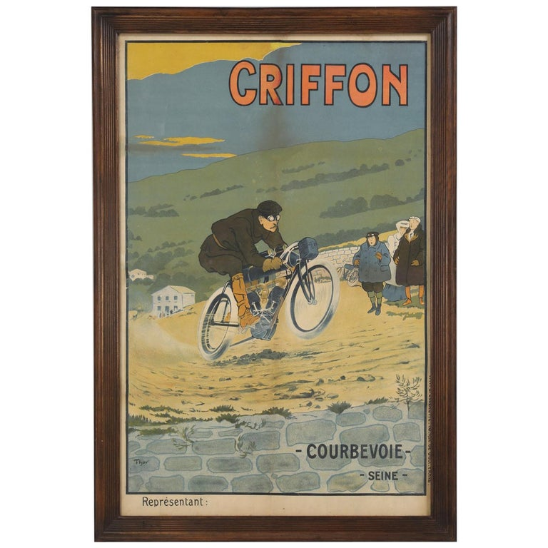 Antique Griffon Motorcycle Racing Poster by Walter Thor, circa 1910 For Sale