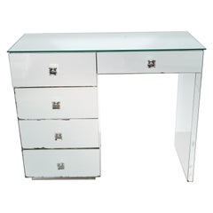 Art Deco Five-Drawer Mirrored Vanity with Square Lucite Pulls & Chrome Hardware