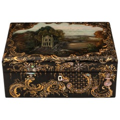 Papier Mâché Painted Sewing Needlework Box by Hausburg Liverpool 19th Century