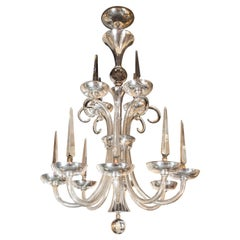 Art Deco Hollywood Hand Blown Crystal 14-Arm Chandelier with Silvered Fittings