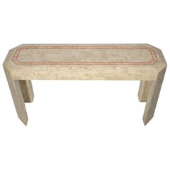 Maitland Smith Attributed Tessellated Stone Console Table with Brass Trim