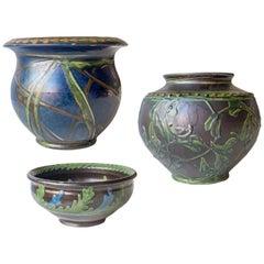 Kähler, Set of 3 Complementary Danish Glazed Stoneware Vases
