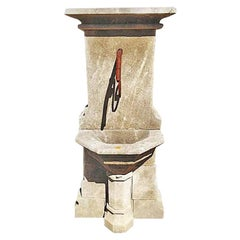 Hand Carved Limestone Pedestal Style Wall Fountain