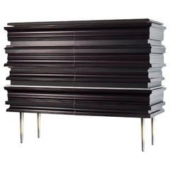 Contemporary Darkened Wood Molding Credenza by Luis Pons