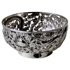 19th Century Antique Chinese Export Silver Pierced Bowl