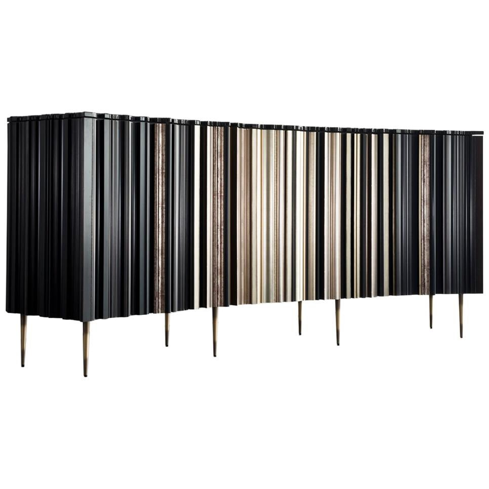 Contemporary Satin Silver and Darkened Wood Curved Sideboard by Luis Pons