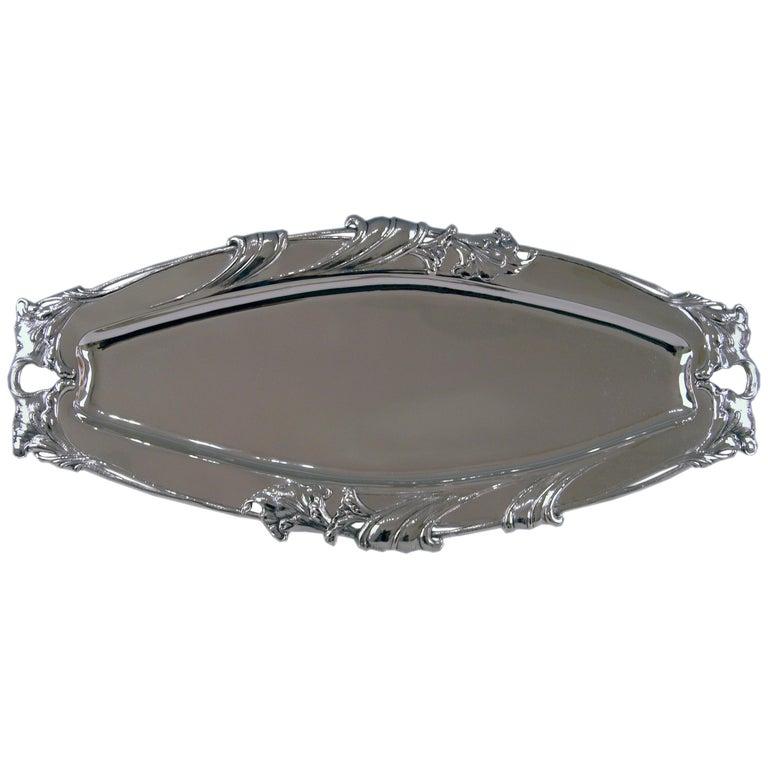 Silver Austrian Art Nouveau Serving Platter Length Viennna, circa 1900 For Sale