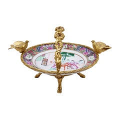 Canton Porcelain Plate and Gilt Bronze Mount, 19th Century
