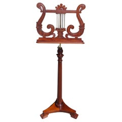 American Mahogany and Brass Telescopic Lyre Foliage Music Stand, NY, Circa 1880