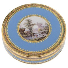 Antique Swiss 18-Karat Gold & Hand Painted Enamel Bonbonniere Box, circa 1800