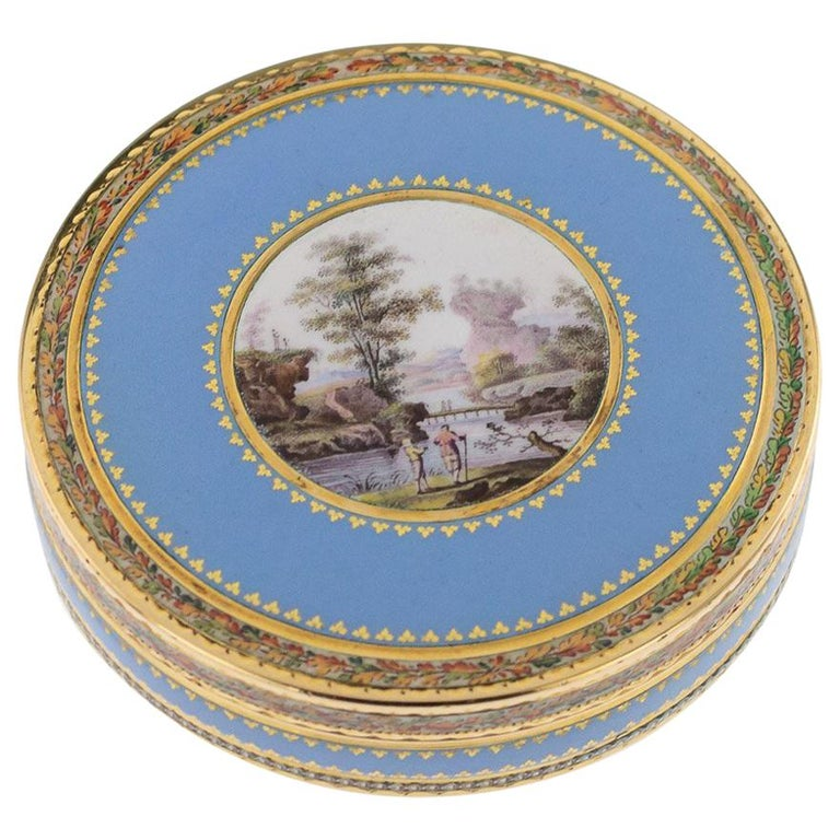 Antique Swiss 18-Karat Gold & Hand Painted Enamel Bonbonniere Box, circa 1800 For Sale