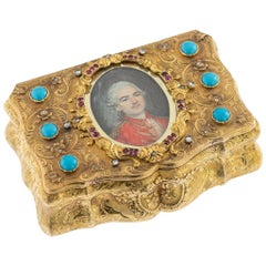 19th Century German Gem Set 14-karat Gold and Miniature Snuff Box, circa 1850