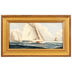 Nicholas Berger, Oil on Mason Board Sailboats with Lighthous