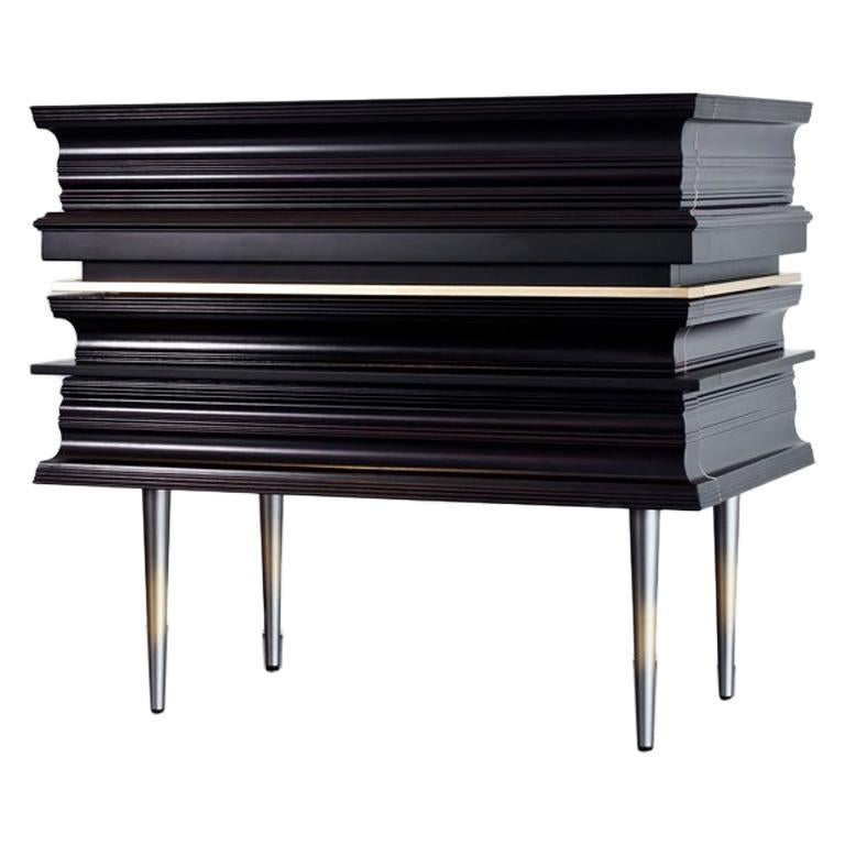Contemporary Pair of Nightstands with a Dark and Silver Moldings by Luis Pons For Sale