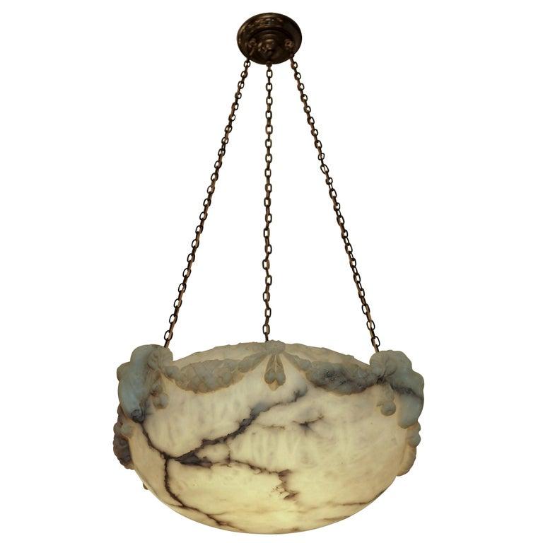 Ramshead Alabaster Pendant, Sweden, 1890 For Sale