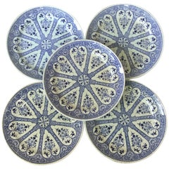19th Century French Blue and White Faience Dinner Plate Sarreguemines