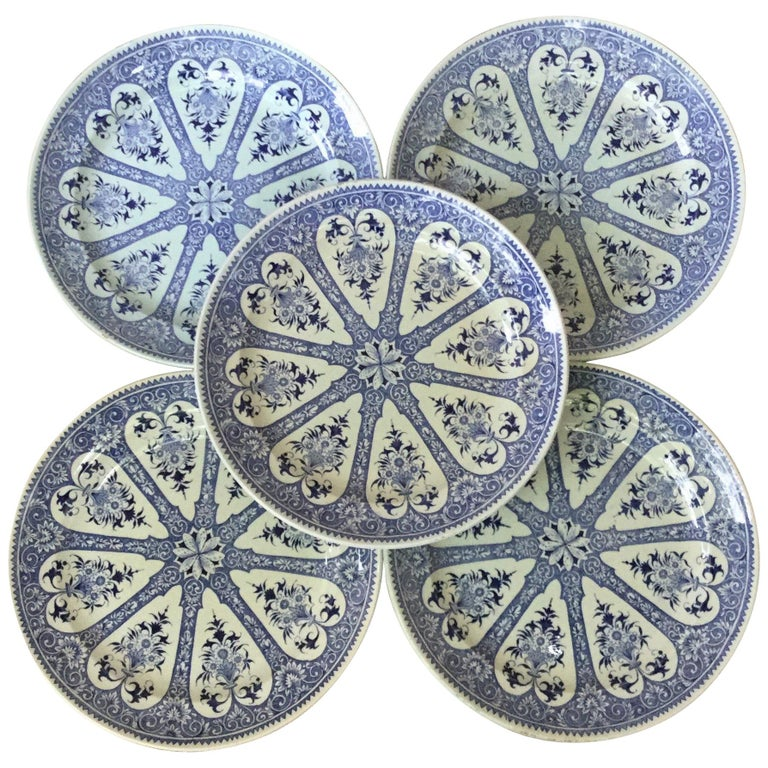 19th Century French Blue and White Faience Dinner Plate Sarreguemines For Sale