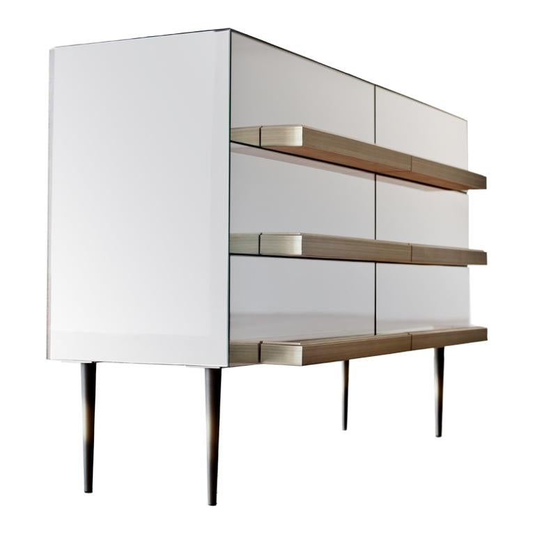 Contemporary Mirrored Credenza with Champagne Molding Handles by Luis Pons