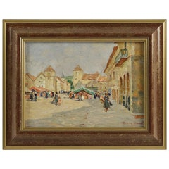 Henry Charles Séné, Oil on Canvas, Brittany Market Scene, circa 1920