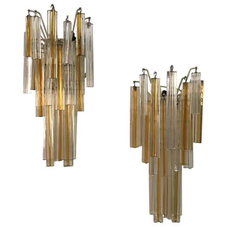 Mid-Century Modern Signed Pair of Murano 'Asta Triedo' Glass Sconces by Venini For Sale