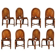 Spectacular Restored Set of 8 Rising Sun Style Bamboo Chairs, circa 1975