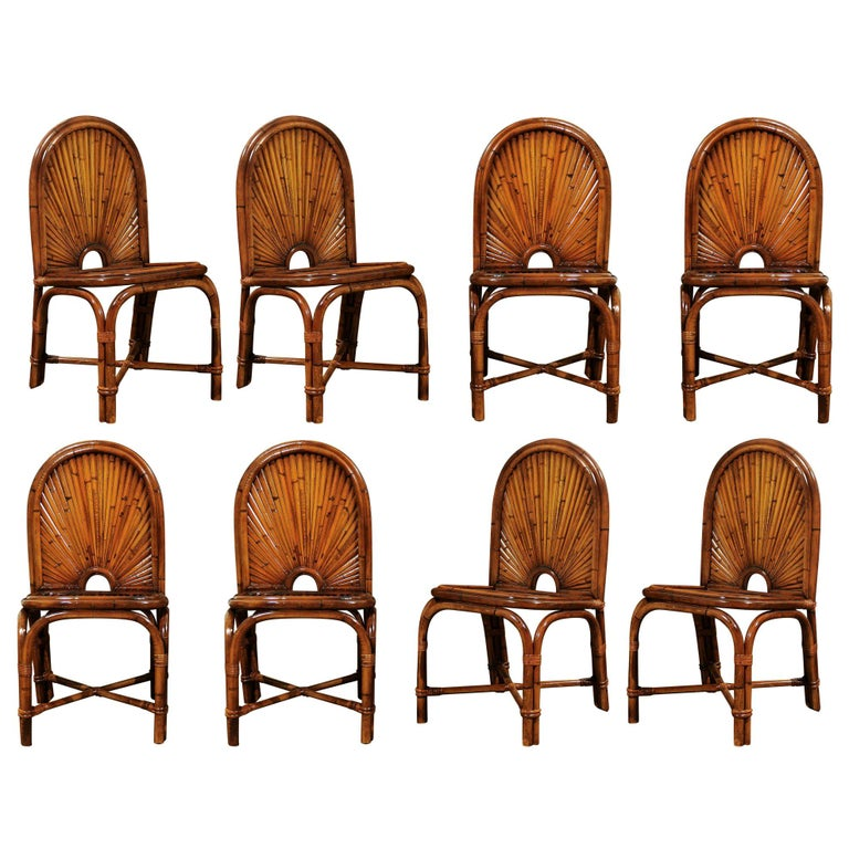 Spectacular Restored Set of 8 Rising Sun Style Bamboo Chairs, circa 1975 For Sale