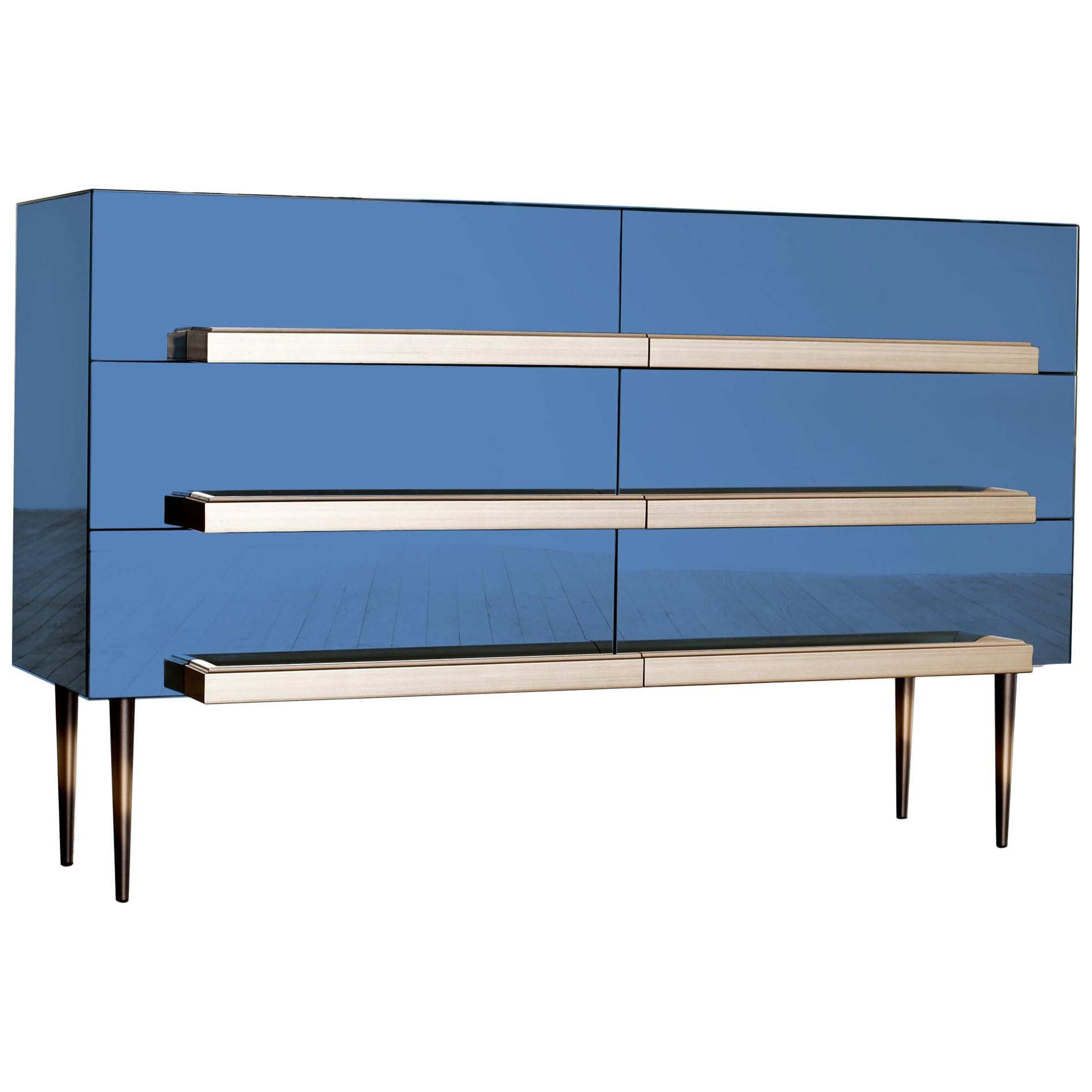 Contemporary Blue Mirrored Credenza with Champagne Molding Handles by Luis Pons
