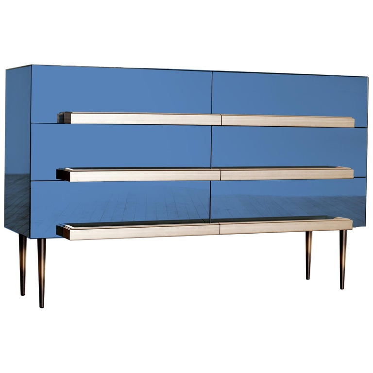 Contemporary Blue Mirrored Credenza with Champagne Molding Handles by Luis Pons For Sale