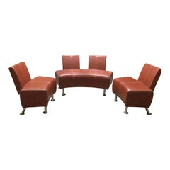 Chic Italian Industrial Leather Salon Set with Two Chairs and Loveseat