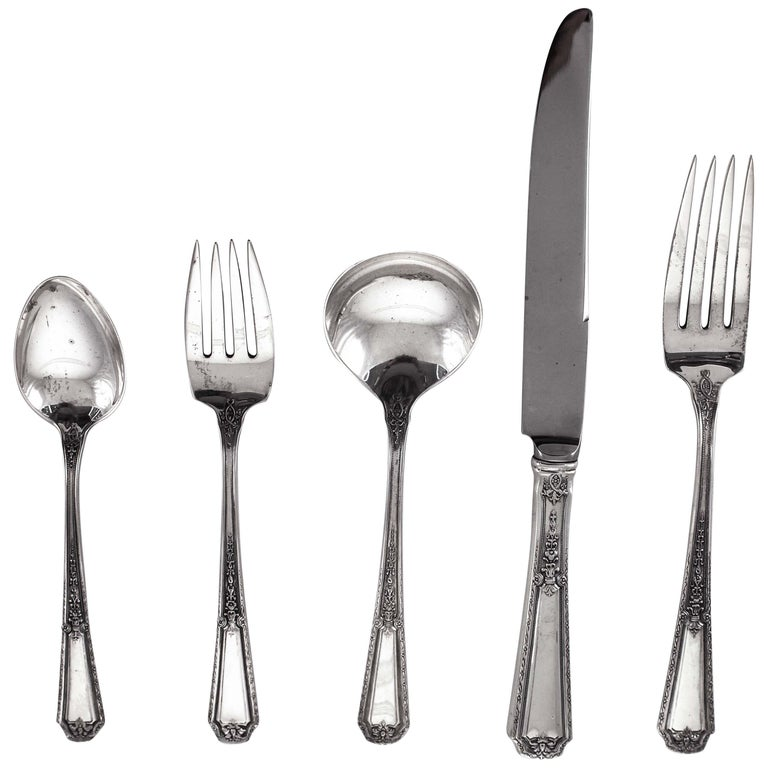 Sterling Flatware Service for 18/5 piece Setting For Sale
