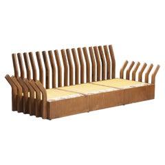 Modern Industria Mid-Century Varnished Walnut Wood Italian Sofa Structure, 1960s