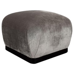 Mid-Century Modern Ebonized Walnut and Platinum Velvet Square Pouf