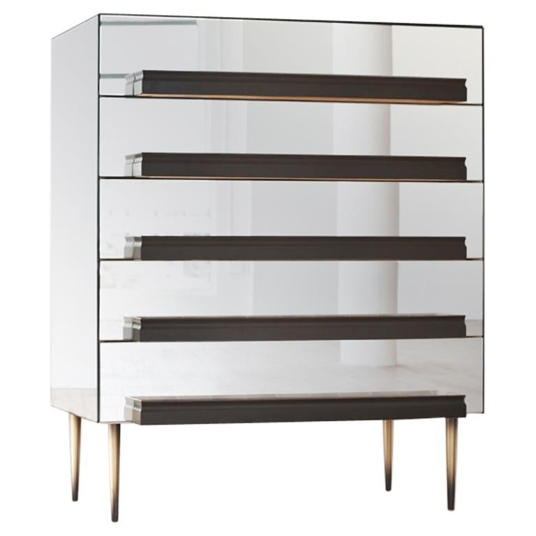 Contemporary Mirrored Dresser with Grey and Silver Molding Handles by Luis Pons For Sale
