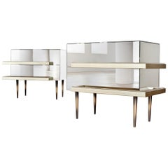 Contemporary Mirrored Nightstands with Champagne Moldings Handles by Luis Pons