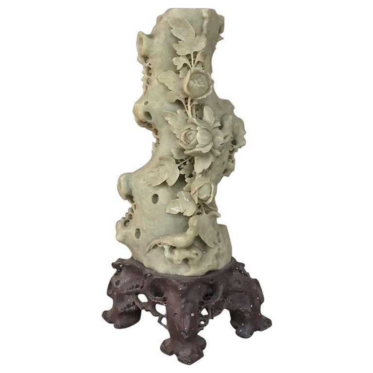 19th Century Carved Jade Stone Bud Vase For Sale